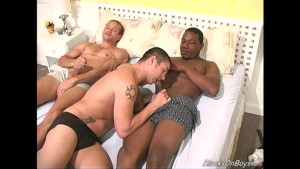 Gay black couple fucks a white guy
