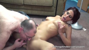 Thin milf with hot body sex with older man