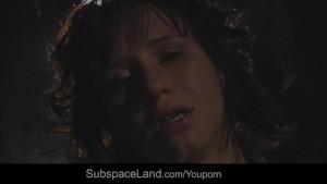 Teen slave in bondage sucking