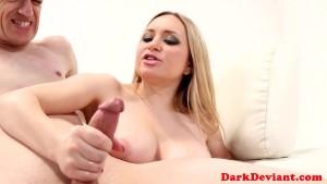 Busty femdom pegs sub before e