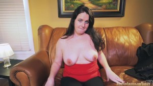 Amateur at her interview plays with her pussy
