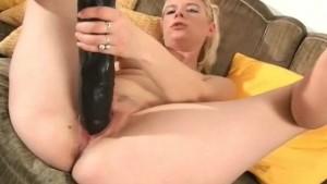 Blonde with huge brutal dildo