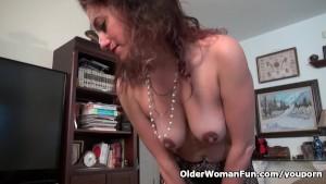 Milf Serena Cruz will let you enjoy her hard nipples and creamy cunt