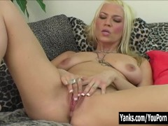Horny Blonde Xana Masturbating
