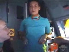 Cabin crew shows her tits