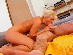 Blonde likes eating ponytail guys balls [CLIP]
