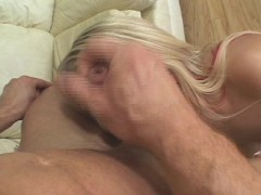 Blonde takes cum up her nose (clip)