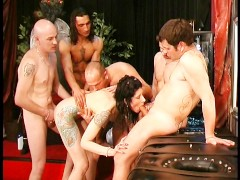 Swedish chick in a tattooed gangbang - DBM Video