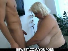 Huge lady strips and fucks lucky guy