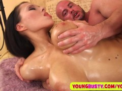 Sperm on her huge oiled natural milkers