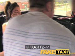FakeTaxi Fun time couple in backseat taxi threesome