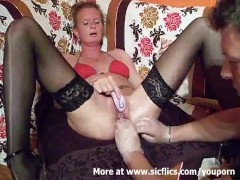 Fist fucking the wifes huge cunt till she squirts