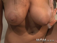 MOM Brunette MILF with Big Tits has Dirty Bathroom Sex