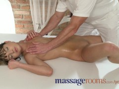 Massage Rooms Petite small tits babes get tight holes filled by masseur