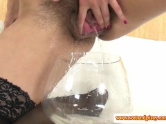 Hairy pee fetish babe toying her ass
