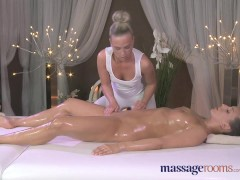 Massage Rooms Teen lesbians oil each other up before hardcore sex session