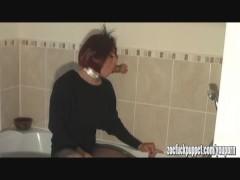Horny tranny slut cums masturbating her big cock and anal fucking dildo toy