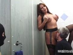 Mistress Carly fucks in dirty toilet and makes pathetic slave lick creampie