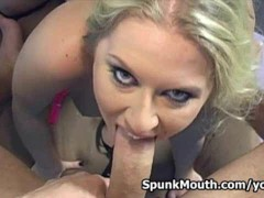 Pro cocksucker bitch Rachel Evans gets into hot oral action for a huge load