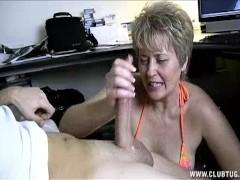 Milf Helps Lucky Guy's Cock Spurt With Jizz