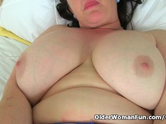 British milf Janey puts her dildos to work