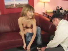 Petite blonde tricked into suck and fuck at casting
