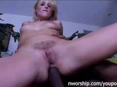sexy blonde got anal pleasure from big black cock