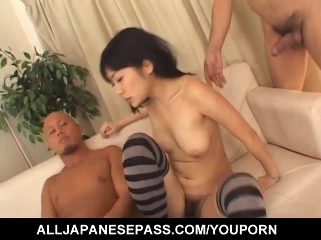Saya Misaki sucks dongs and welcomes them in her hairy cooter