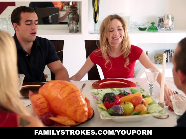 step sister sucks and fucks brother during thanksgiving dinner