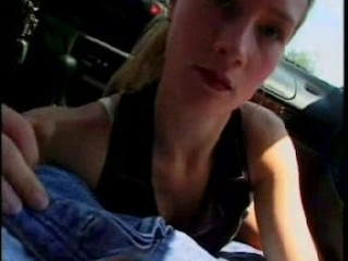 Girl in car gets facial