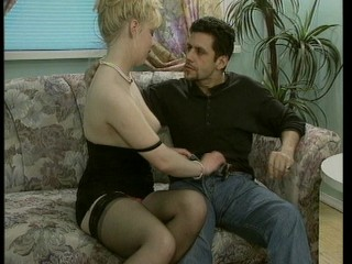 One hot blonde, one cool stud and one very ugly couch equals fun times