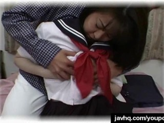 Asian schoolgirl having wild...
