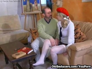 Teen double older men...
