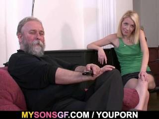 Old dad forces his son gf suck...