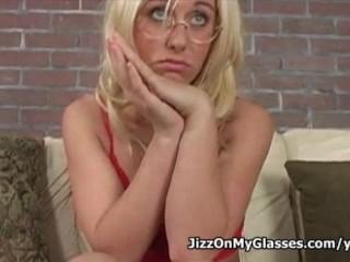 Blonde hottie goldie coxx sucks cock for a jizz on her glasses