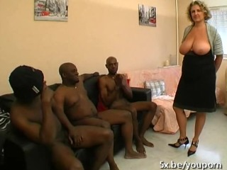 A French mature named Lou gangbanged by black cocks...