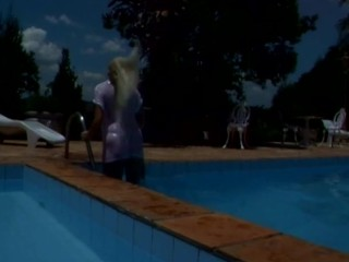 Blonde latina by the pool shock wave...