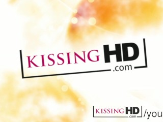 Kissing hd mature straight women share a lesbian french kiss for...