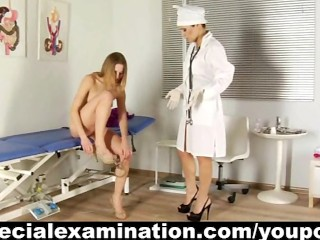 Young blonde and rude gynecologist...