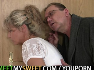 His old mom and dad tricks her into family 3some