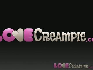 Love Creampie internal cum with beautiful shaved brunette...