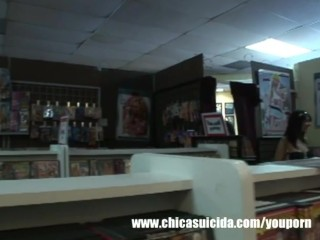 Picks teen girl at the sex shop and stretches her pussy