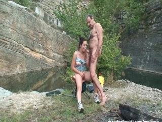 superb-babe-rides-grandpas-cock-in-nature