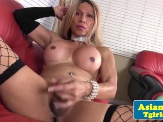 Mature asian tgirl Chloe London toys ass
