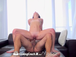 CastingCouch-X - Petite Renee Roulette takes her first dick on camera