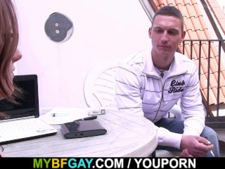 She Finds Him Riding Gay Cock...