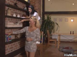 Blonde mature lesbian seduces cute girl