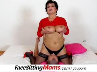 Big naturals lady Greta using a boy for facesitting