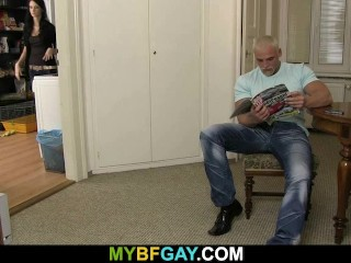 Big Blonde Hunk Drilling His Friend S Ass When His Gf S Kitchen...