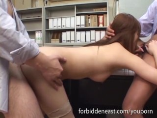 In stockings gets bent over and pounded hard office...